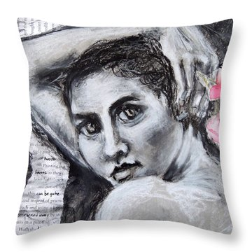 Throw Pillow featuring the drawing Carried Away by Mary Schiros