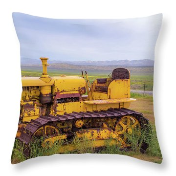 Throw Pillow featuring the photograph Carrizo Plain Bulldozer by Marc Crumpler