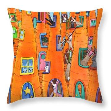 Carrot Condos Throw Pillow