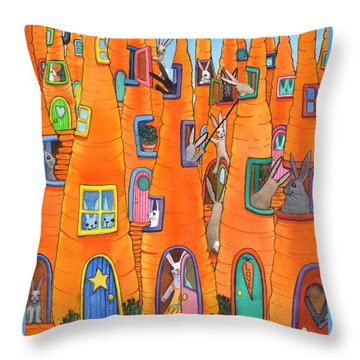 Carrot Condos Throw Pillow