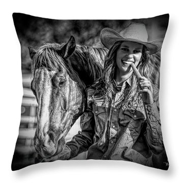 Carrots Cowgirls And Horses  Black Throw Pillow