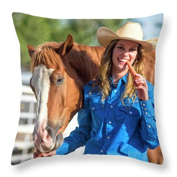 Carrots,cowgirls And Horses  Throw Pillow