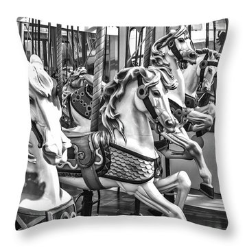 Carrousel Horses In Black And White Throw Pillow