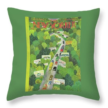 Cars Drive Down A Forest Highway Overrun With Billboards Throw Pillow