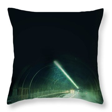 Cars In A Dark Tunnel Throw Pillow by Jill Battaglia