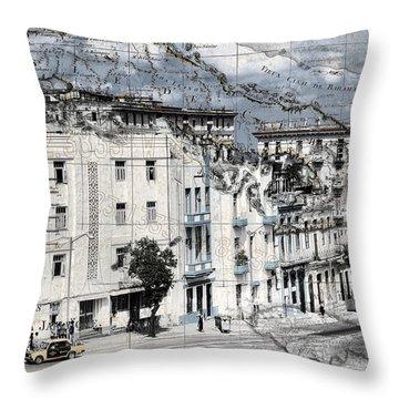 Carte Isle De Cuba Throw Pillow