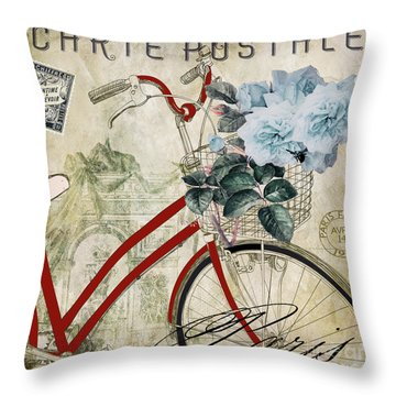 Carte Postale Vintage Bicycle Throw Pillow