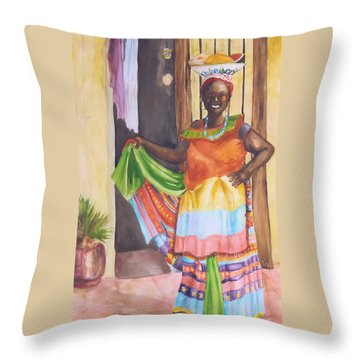 Cartegena Woman Throw Pillow