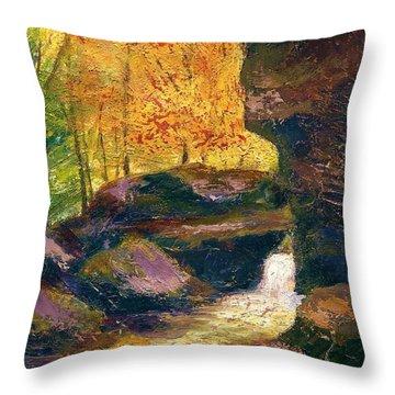 Throw Pillow featuring the painting Carter Caves Kentucky by Gail Kirtz