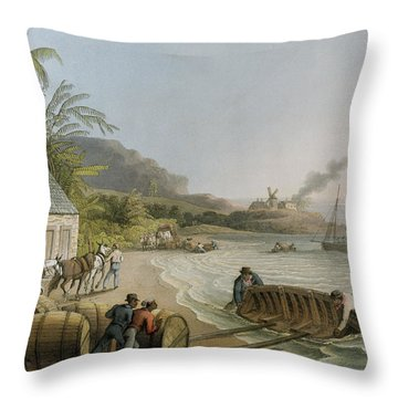 Carting And Putting Sugar Hogsheads On Board Throw Pillow