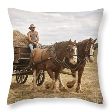 Carting Hay Throw Pillow