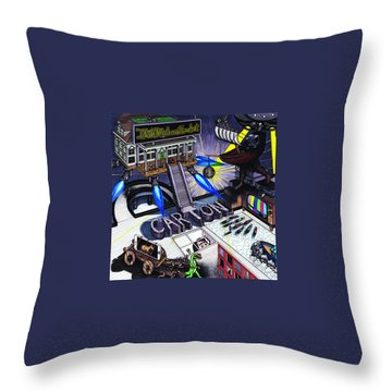 Carton Album Cover Artwork Front Throw Pillow by Richie Montgomery