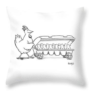 Carton Of Chicks Throw Pillow