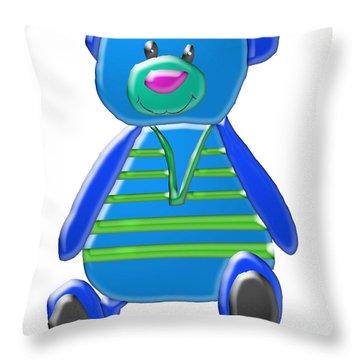 Cartoon Bear In Sweater Vest Throw Pillow by Karen Nicholson