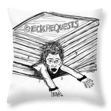 Cartoon Check Requests Throw Pillow