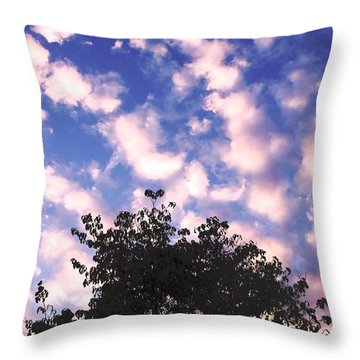Cartoon Clouds Throw Pillow by Melissa Stoudt