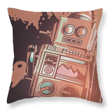 Cartoon Cyborg Robot Throw Pillow
