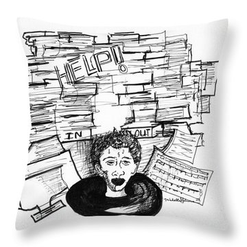Cartoon Inbox Throw Pillow