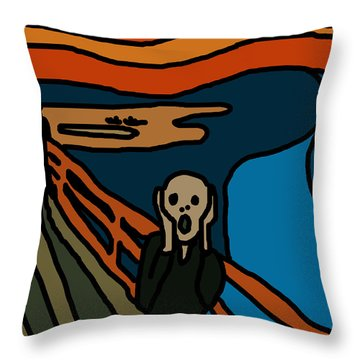 Cartoon Scream Throw Pillow by Jera Sky