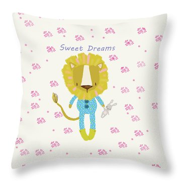 Cartoon Sweet Dreams Lion Throw Pillow
