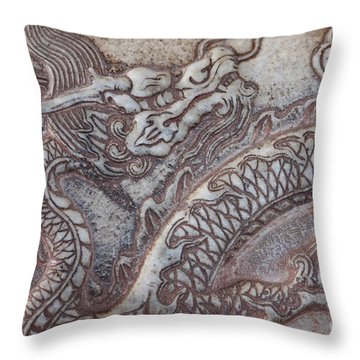 Carved Dragon Throw Pillow by Carol Groenen