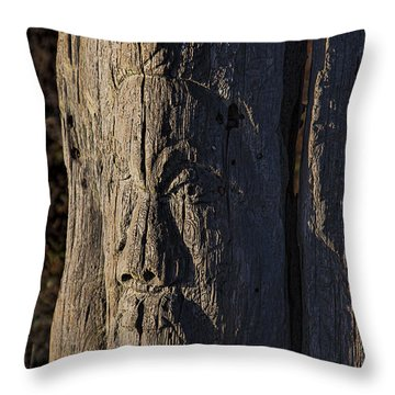 Carved Fence Post Throw Pillow