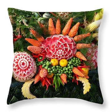 Throw Pillow featuring the photograph Carved Watermelon, And I Think Those by Mr Photojimsf