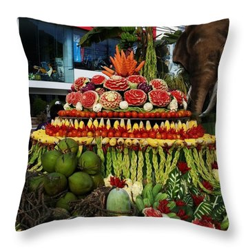 Throw Pillow featuring the photograph Carved Watermelon, Surin Elephant by Mr Photojimsf
