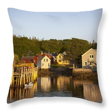 Carvers Harbor At Sunset, Vinahaven, Maine Throw Pillow