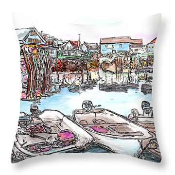 Carvers Harbour With Boats , Vinal Haven,  Maine Throw Pillow