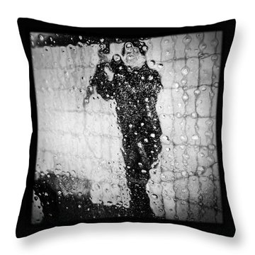 Carwash Cool Black And White Abstract Throw Pillow by Matthias Hauser