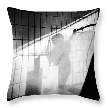 Carwash Shadow And Light Throw Pillow by Matthias Hauser