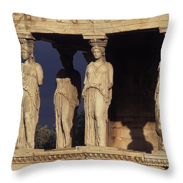 Caryatides At The Acropolis Throw Pillow