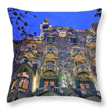 Casa Batllo In Barcelona Throw Pillow