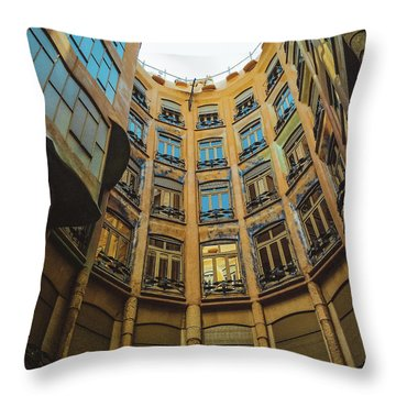 Throw Pillow featuring the photograph Casa Mila - Barcelona by Colleen Kammerer