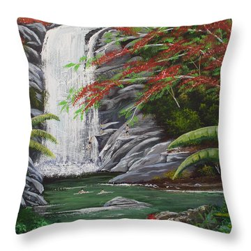 Cascada Tropical Throw Pillow by Luis F Rodriguez