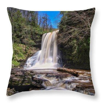 Cascade Falls In Spring Throw Pillow