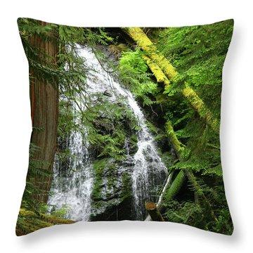 Cascade Falls - Orcas Island Throw Pillow