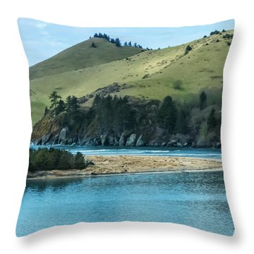 Cascade Head Panorama Throw Pillow