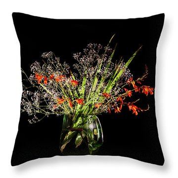 Cascade Of White And Orange. Throw Pillow by Torbjorn Swenelius