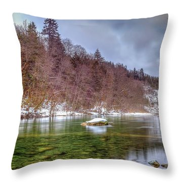 Throw Pillow featuring the photograph Cascade River Rocks by Spencer McDonald
