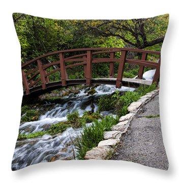 Cascade Springs Bridge Throw Pillow