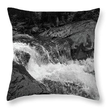 Cascade Stream Gorge, Rangeley, Maine  -70756-70771-pano-bw Throw Pillow