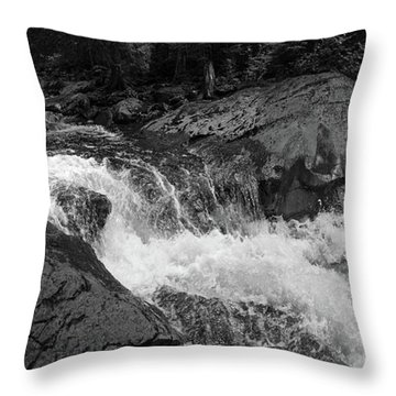 Cascade Stream Gorge, Rangeley, Maine  -70756-70771-pano-bw Throw Pillow