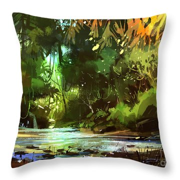 Cascades In Forest Throw Pillow