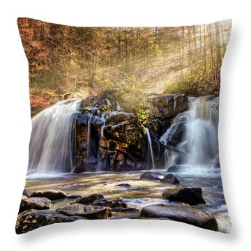 Throw Pillow featuring the photograph Cascades Of Light by Debra and Dave Vanderlaan