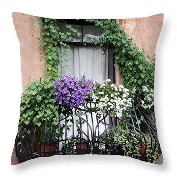 Cascading Floral Balcony Throw Pillow