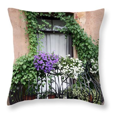 Throw Pillow featuring the photograph Cascading Floral Balcony by Donna Corless