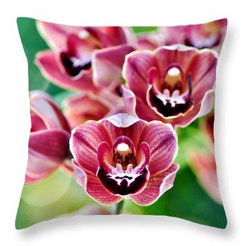 Cascading Miniature Orchids Throw Pillow