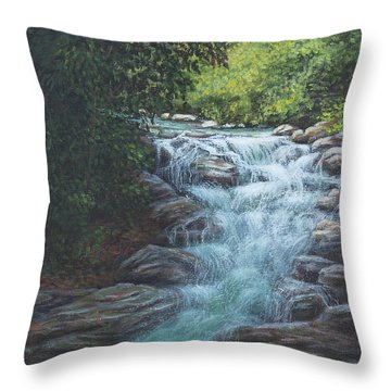 Throw Pillow featuring the painting Cascading Stream by Kim Lockman